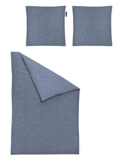 Satin-Bettwäsche-Set, blaugrau.
