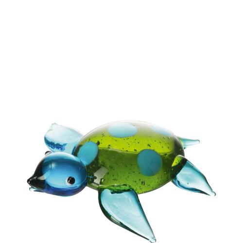 Blau-grüne Schildkröte aus Glas.