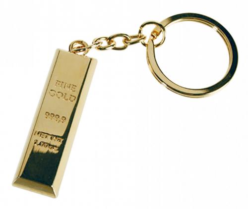 Schlüsselanhänger Goldbarren.