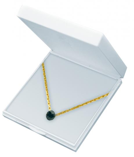 Schwarzer Diamant - Einkaräter mit vergoldeter Silberkette.