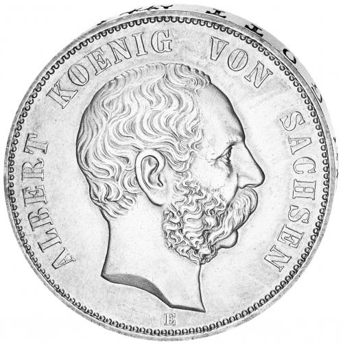 Silbermünze 5 Mark Sachsen König Albert (1873-1902).