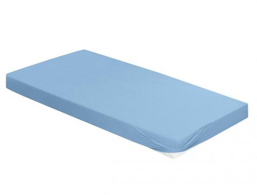 Spannbetttuch, blau, 180 x 200 cm.