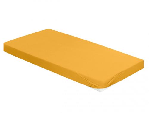 Spannbetttuch, goldgelb, 100 x 220 cm.