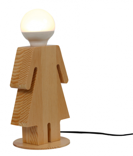 Tischlampe »Frau aus Holz«.
