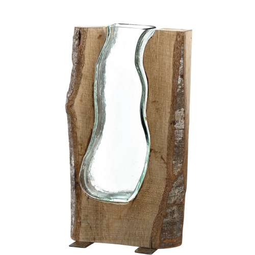 Große Vase mit Holzelement.