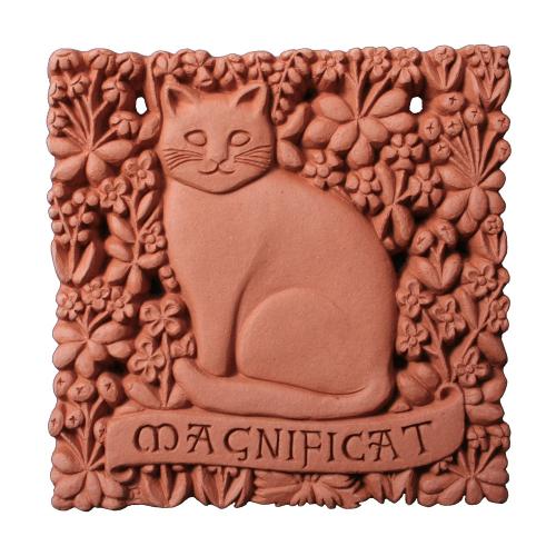 Wandfliese Terrakotta mit Katze »Magnificat«.