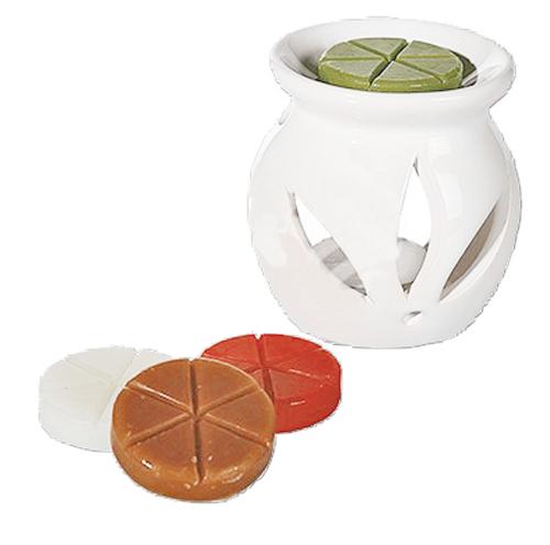 Weiße Keramik-Aromalampe.