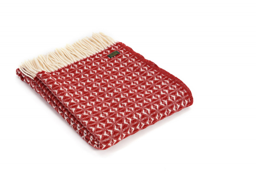 Wolldecke Cobweave Red, rot.