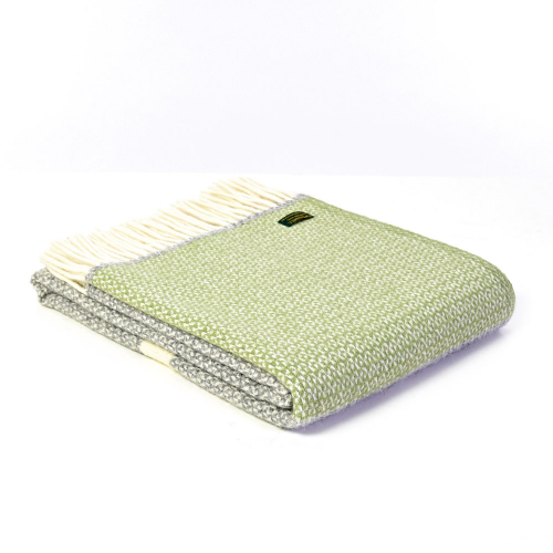 Wolldecke »Streifen«, grün/grau.