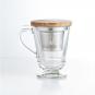 Teeglas mit Sieb und Holzdeckel. Bild 1