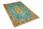 Teppich im Vintage-Look gelb mit blau, 188 x 115 cm. Bild 3